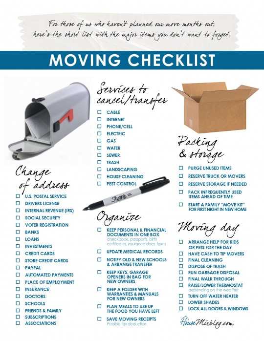 Moving part 2 Change of address services to stop organizing checklist  House Mix