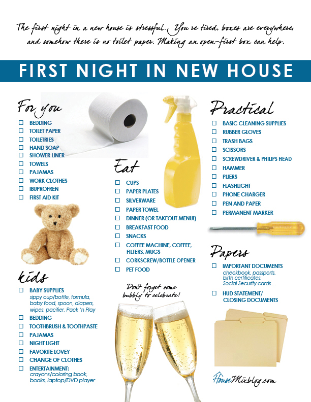 Moving part 5 Familys first night in new house checklist