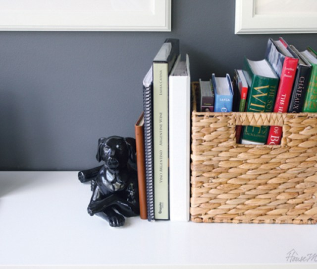 Use Baskets To Organize Books And Paper In Home Office