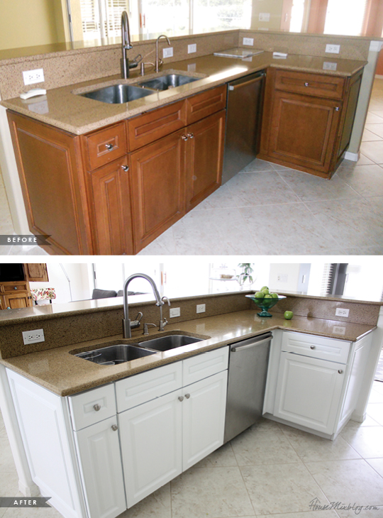 Painting dark wood cabinets white before and after for Painting wood kitchen cabinets white