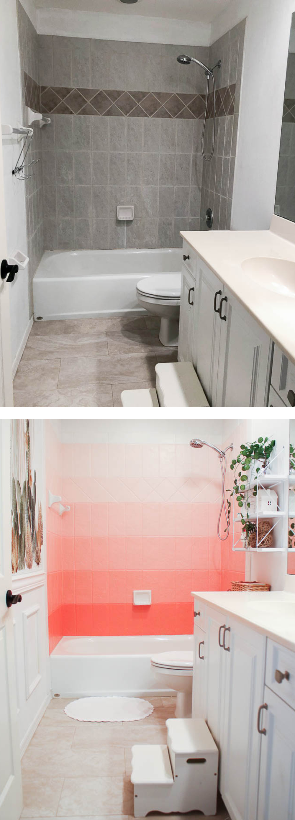How To Paint Bathroom Tile Floor Shower Backsplash House Mix