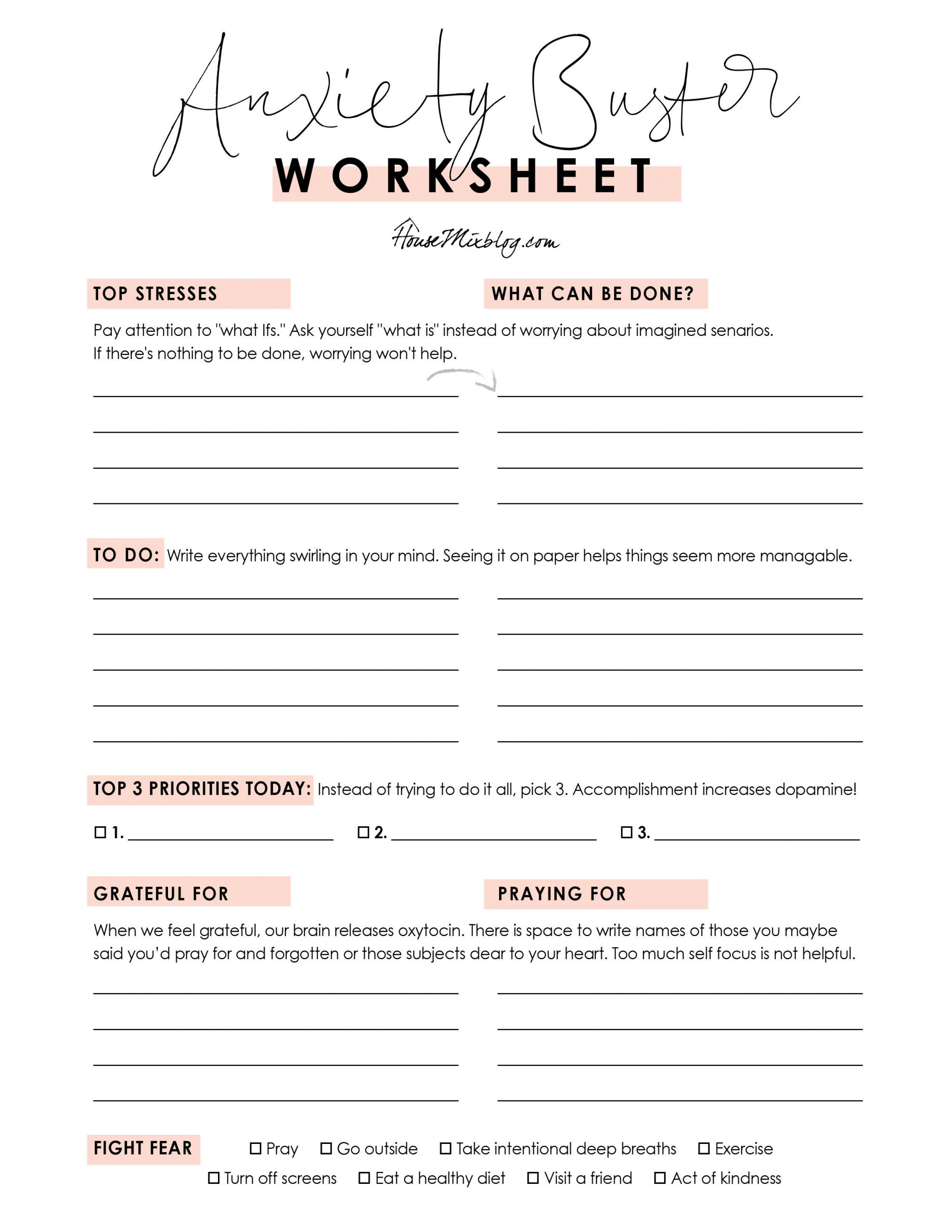 Anxiety Buster Worksheet