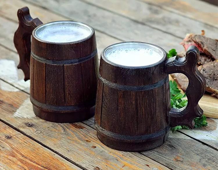 Wood and steel beer mugs for proper quaffing