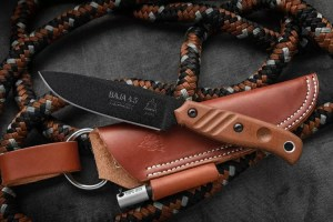 Baja 4.5 Reserve Edition fixed blade knife with leather sheath from TOPS Knives.