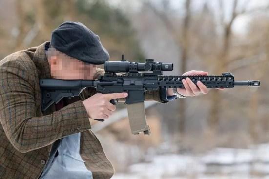 SOPMOD stock in use in lieu of rifle cheek pad.