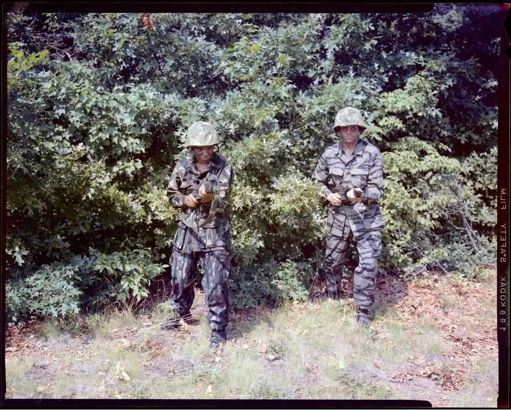 Tiger Stripe camo and ERDL camo pattern during camo trials, 1975.
