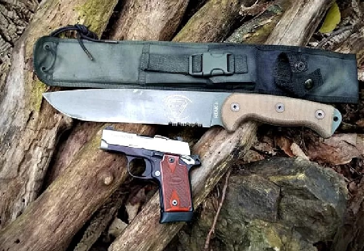 RTAK field knife, sheath, and pistol.