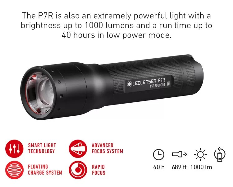 Ledlenser P74 Flashlight, lumens and battery power runtime