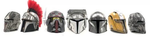 Mandalorian helmets by Mynock's Den