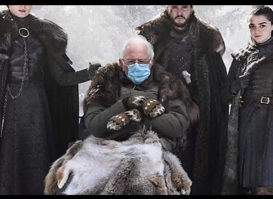 Bernie Sanders meme: from the Biden inauguration, game of thrones style