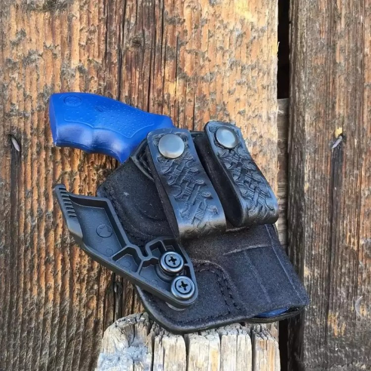 A custom AIWB to carry a snub revolver appendix style concealed carry, handmade by Bitter Root Gunleather.