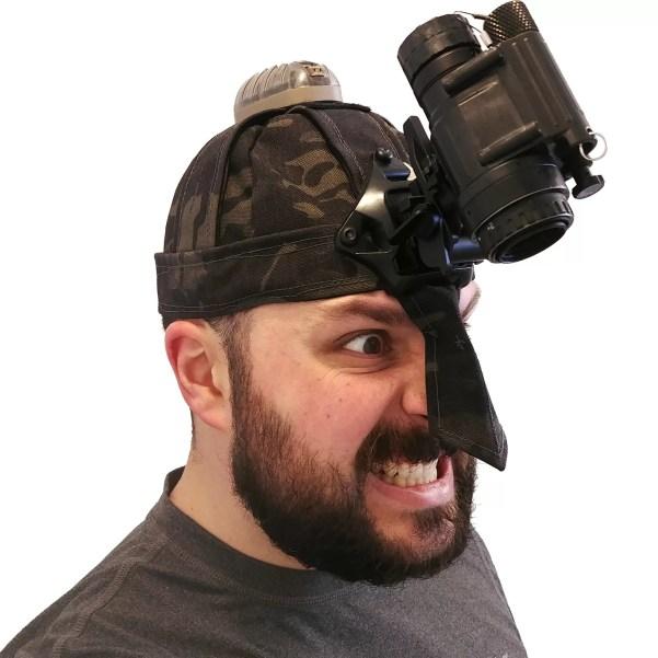Homemade viking helmet sewn out of MC Black.