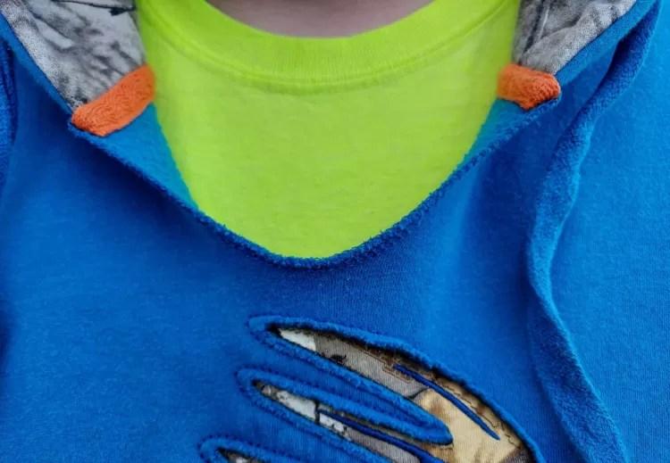 Closeup of v-neck.