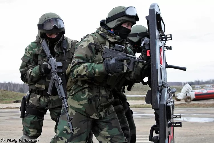 Russian Internal Troops wearing LES, a Russian camouflage pattern similar to the M81 woodland camouflage. It is the latest Russian evolution of its TTsKO copy of the ERDL camouflage pattern.