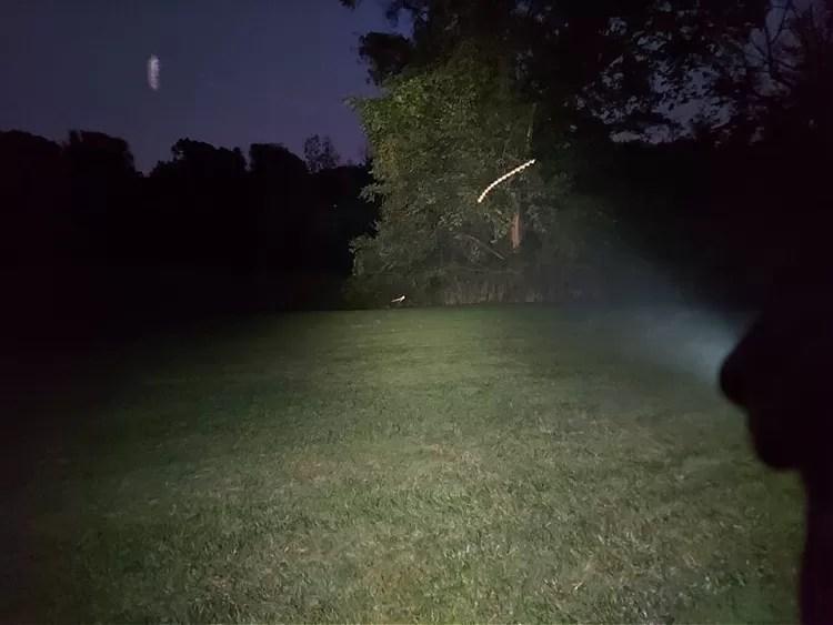 Streamlight Macrostream EDC flashlight high setting beam of 500 lumens, shown at 40 yards in the dark.