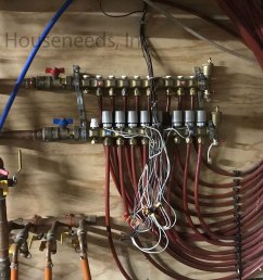 example of how to pipe a hydronic radiators or fan convectors with pex manifold and actuators [ 1250 x 938 Pixel ]