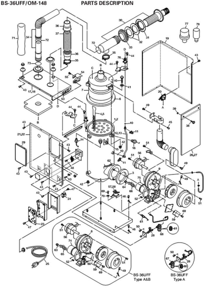 Toyotomi OM-148 Oil Water Heater Schematic