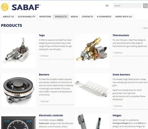 Sabaf社のウェブサイト