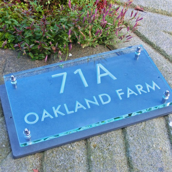 Large Glass Name & House Number Plaques 06