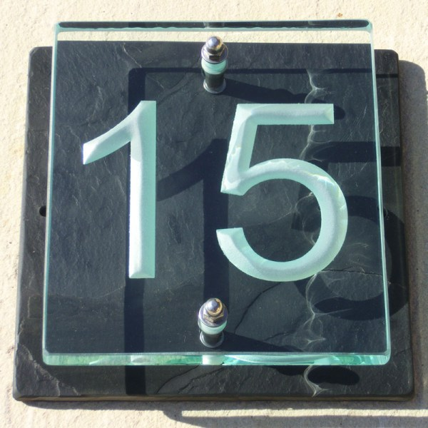 Small Glass House Number Plaques - Arial Font