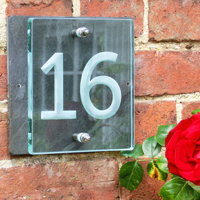 Buy a small glass house number sign tim carter for Small glass homes