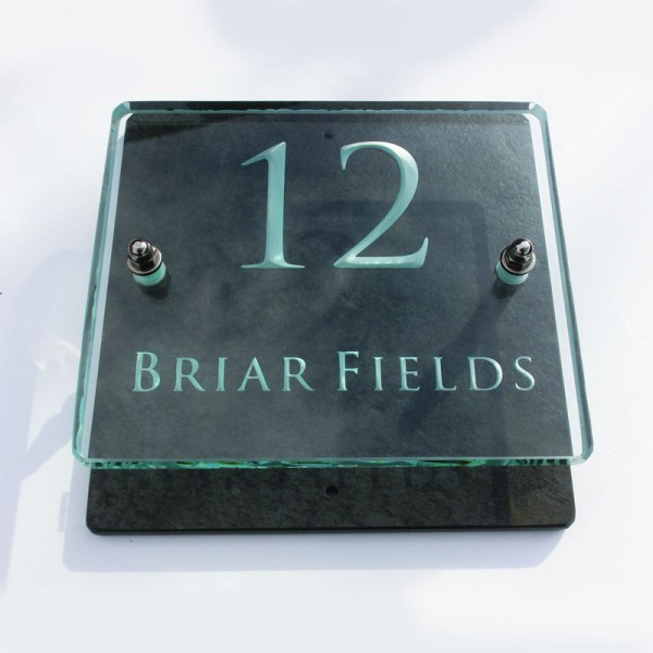 Small Glass Name & House Number Plaques 03