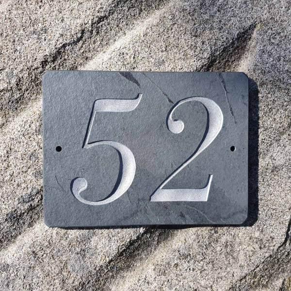 52 slate plaque in Bodoni MT Italics font