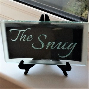 Sandblast engraved glass room sign The Snug in Italliano font by Tim Carter