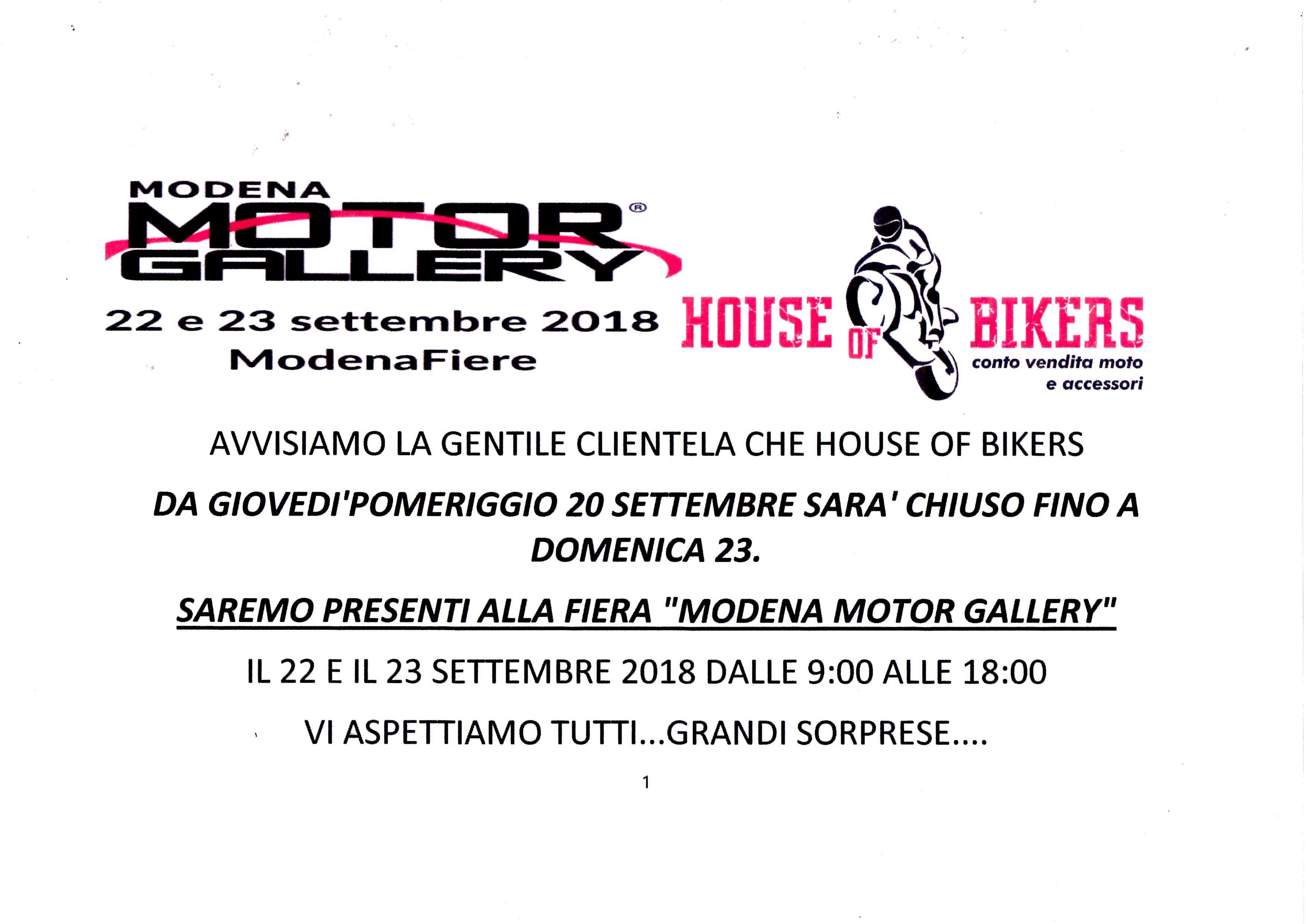 HOUSE OF BIKERS ALLA MOTOR GALLERY DI MODENA 2018