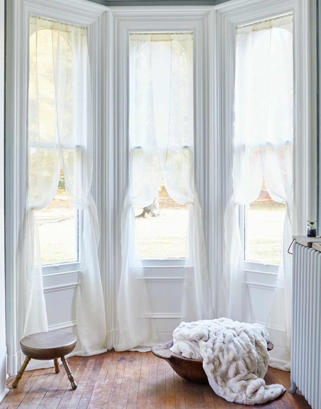 DIY Linen Cross-Over Curtains