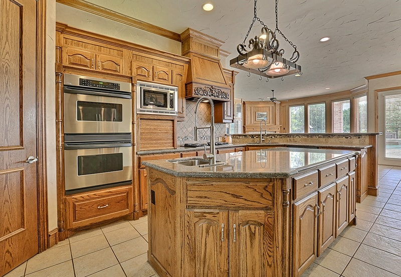 Large open-plan kitchen with central island