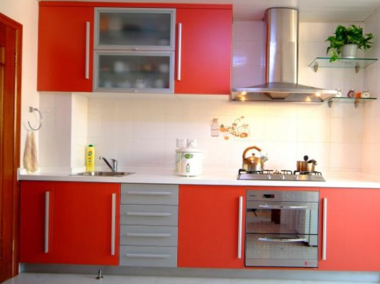 Kitchen Cabinets Painting: White and Orange