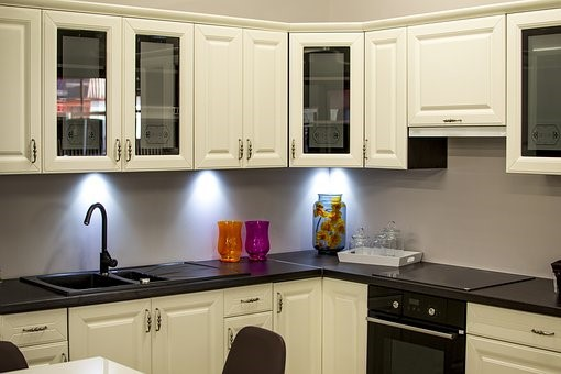 White & Wood Cabinets For Kitchen