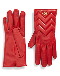 GG Marmont Cashmere Lined Leather Gloves - $878.76