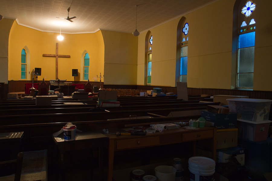 The sanctuary, with our stuff lining the pews