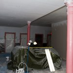 The ceilings after being sprayed.