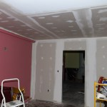 Ceiling drywall in the living room!