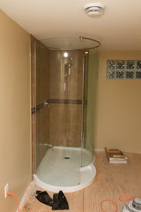 Shower glass.
