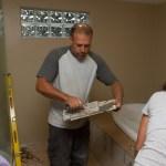 Dan prepping a tile.