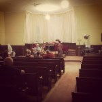 People gathered for one of our house concerts.