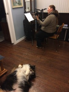 Leah rehearses, while Roxy tries to get her attention