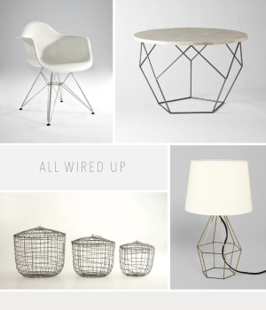 A round up of wire furniture lighting and accessories