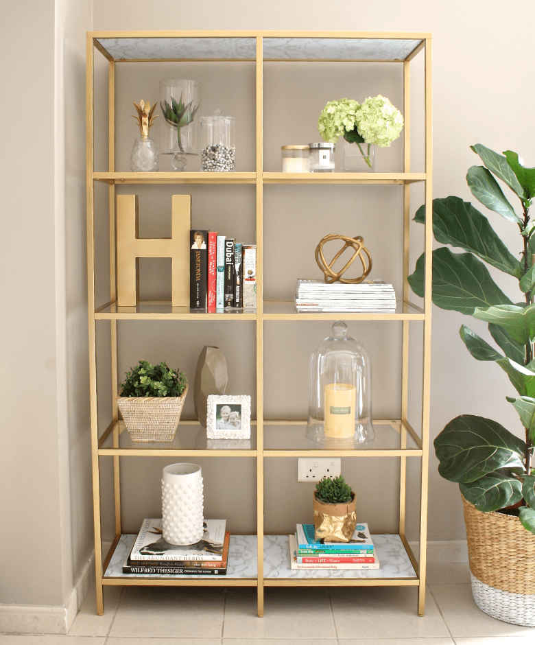 DIY gold ikea bookshelf
