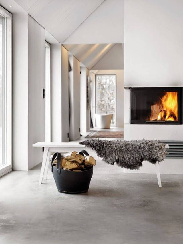 create a stylish look with a bench and sheepskin