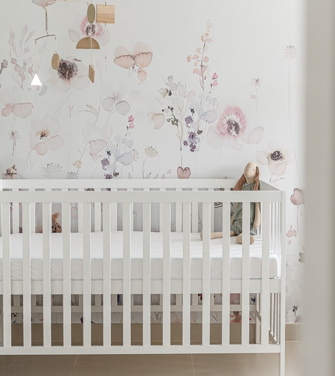 Baby girl green and pink floral nursery
