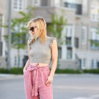 Pink Paper Bag Pants With A Ruffle Sleeve Crop Top