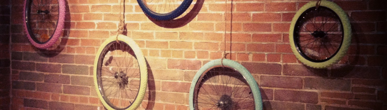Bike Tires / Wheel Art by House of J Interior Designer Jennifer Woch