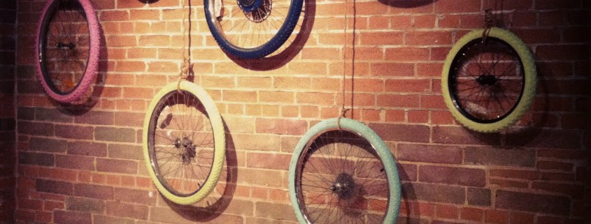 Bike Tires / Wheel Art by House of J Interior Designer Jennifer Woch