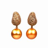 Golden South Sea Pearl Earrings - House of Kahn Estate ...