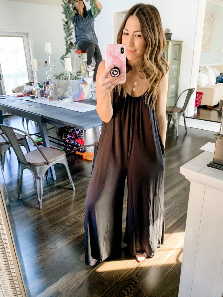 Amazon Haul by top US fashion blog, House of Leo Blog: image of a woman wearing Alexander + David Womens Casual Loose Fit Spaghetti Strap Sexy Jersey Jumpsuit